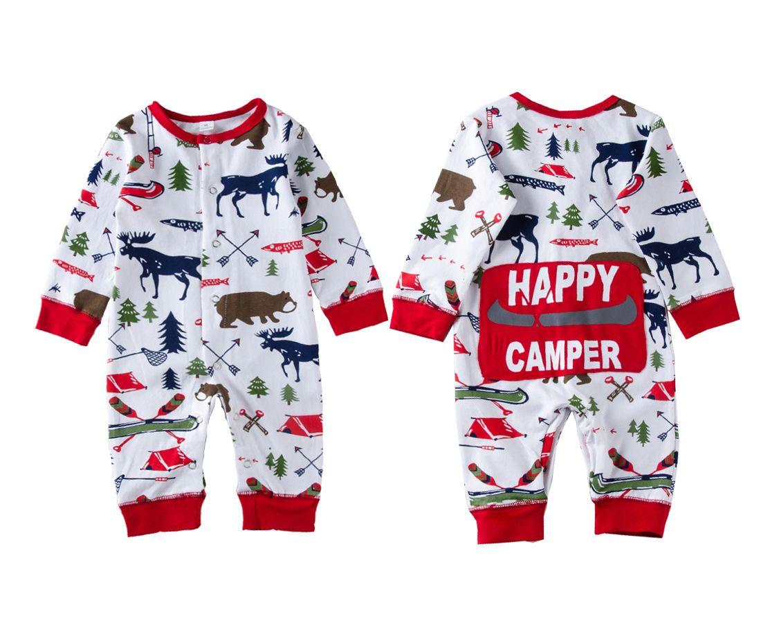 عيد الميلاد للبنات طفل رضيع الملابس منامة الزي الوليد الاطفال BODYSUIT مخطط رومبير الدب الرنة الشتوية بالجملة عيد الميلاد ملابس اطفال 0-18M