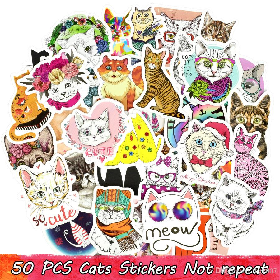 50 PCS Cute Cat Stickers Graffiti Animal Decals DIY for Laptop Skateboard Bike Car Luggage Guitar Mug Toys Gifts for All People Home Decor