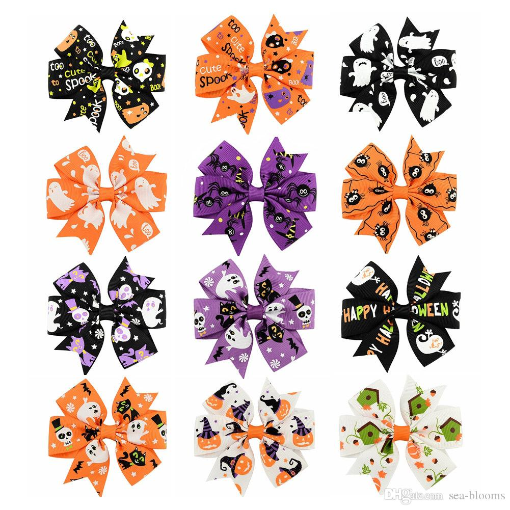 Baby Halloween Grosgrain Ribbon Bows WITH Clip Girls Kids Ghost Pumpkin Baby Girl Pinwheel Hair Clips Hair Pin Accessories 12 Colors D493Q