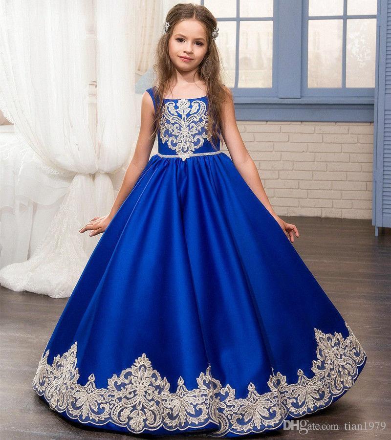 Princesse Jewel Neck Rose Dentelle Appliqued Fleur Fille Robes Manches Cour Train Tribunal Enfants Fleur Filles Pageant Robes