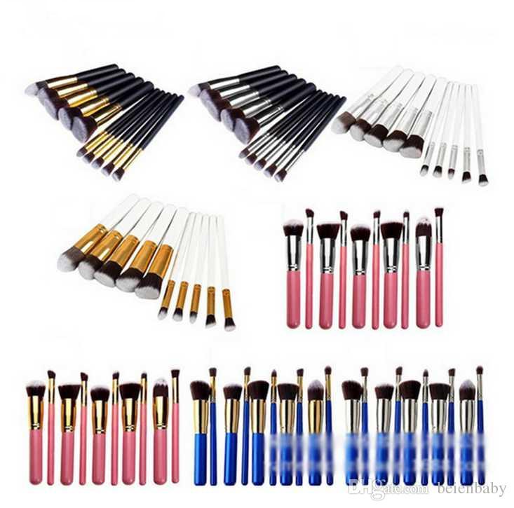 10pcs/set Kabuki Makeup Brushes Professional Cosmetic Brush Kit Nylon Hair Wood Handle Eyeshadow Foundation Brush Set 11 Color
