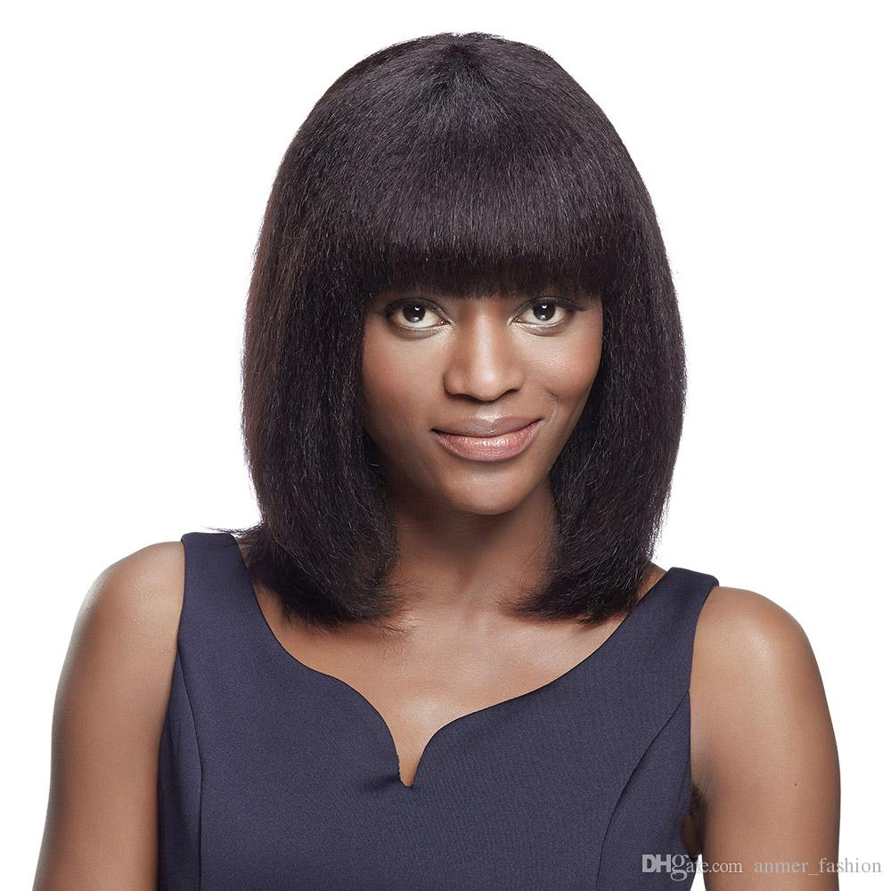 Manufacturer 100% unprocessed remy virgin human hair short bob natural color yaki straight full lace cap wig for lady