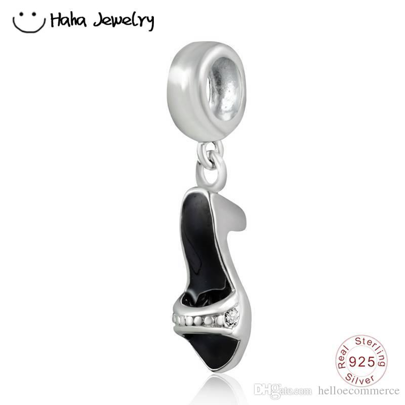 Haha Jewelry Black Enamel High Heel Shoes Dangle Bead Authentic 925 Sterling Silver Valentine's Day Charm for Pandora Charms Bracelet Making