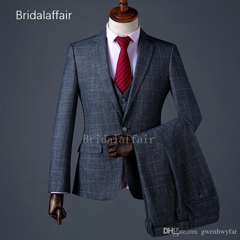 Dark Grey Prom Wedding Suits For Mens Wool Blend Formal Slim Fit Men's Suit Set Lattice Groom Luxury Tuxedo 3 Pieces Jacket Pants Vest
