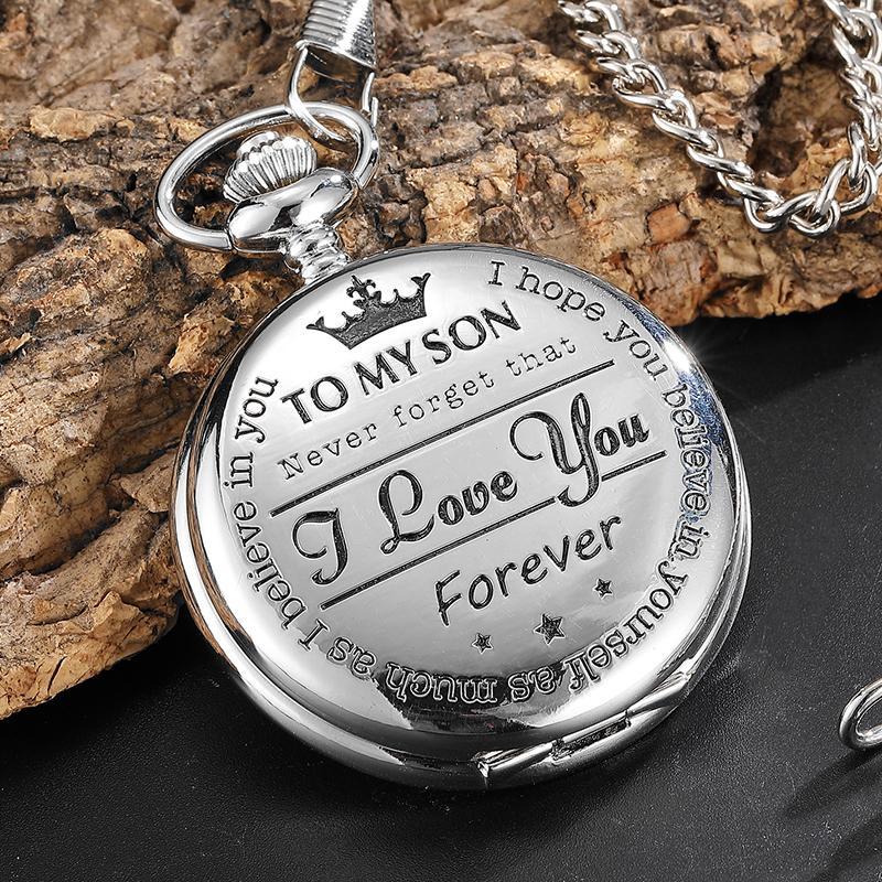 내 아들에게 최고의 선물 나는 당신을 사랑합니다 아들 여자 소년은 목걸이 펜던트 시계에 대한 FOB 체인과 실버 Steampunk 포켓 시계를 선물
