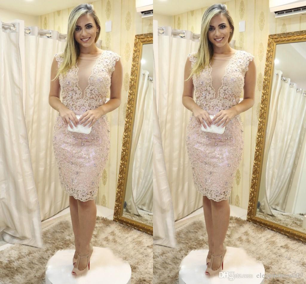 2019 New Cheap Beads Sheath Short Cocktail Dresses Jewel Neck Crystals Knee Length Short Prom Party Evening Dresses For Women Custom Made