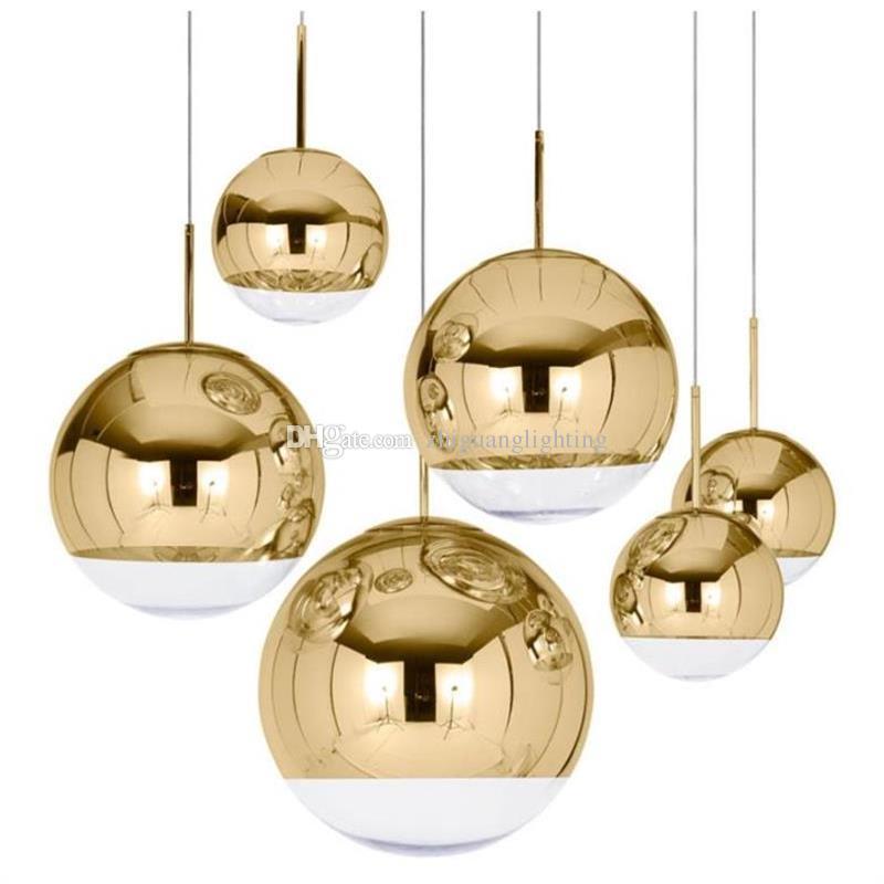 Ayna Topu Kolye Işık Yemek odası Cam Kolye lamba postmodern minimalist İskandinav cafe kabarcık cam dekorasyon Kolye lamba