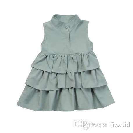 лето новорожденных девочек платье мода свободные сплошной цвет оборками 1-6 Т дети дети рукавов праздник принцесса layeres платья