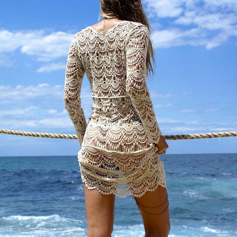 Sexy Beach Cover up Crochet White Swimwear Dress Ladies Bathing Suit Cover ups Beach Tunic Saida de Praia