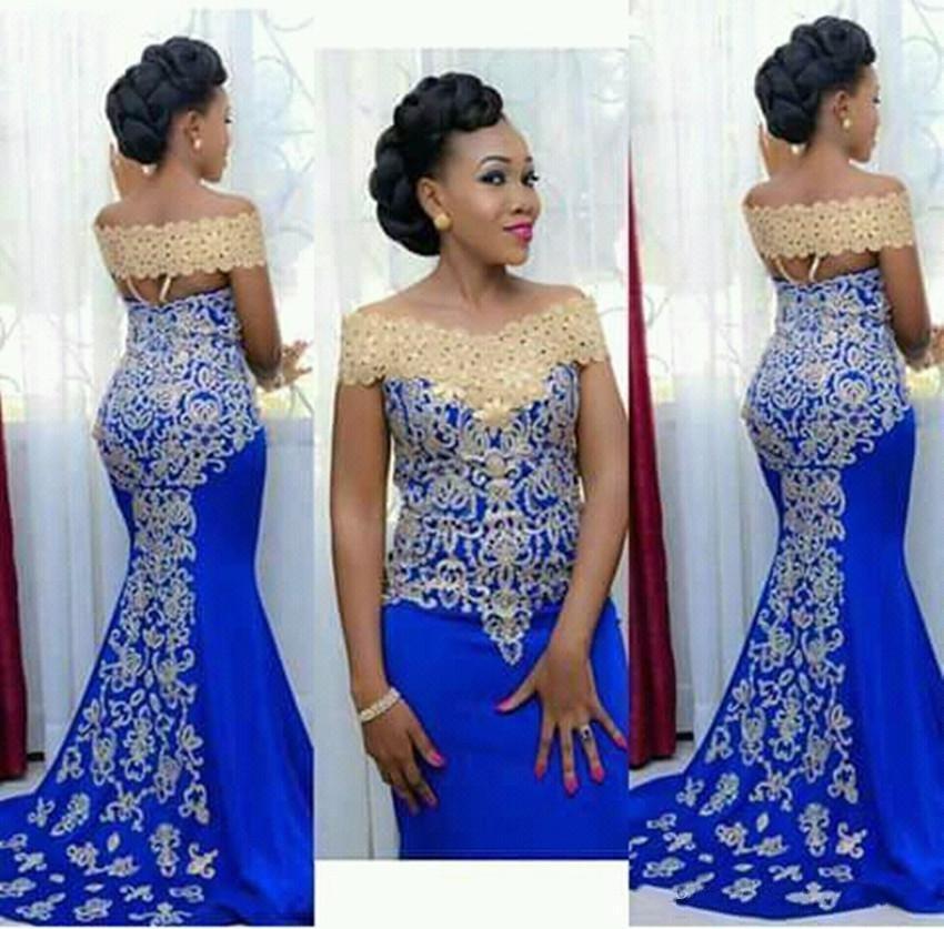 Elegantes vestidos de noche largos usan sirena de hombro con bordado de oro longitud de piso africano mujeres azules formales formas martes de madre
