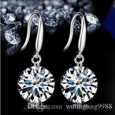 925 Sterling Diamond Drop Kolczyki Moda Biżuteria Piękny ślub Kolczyki Kolczyki zaręczynowe