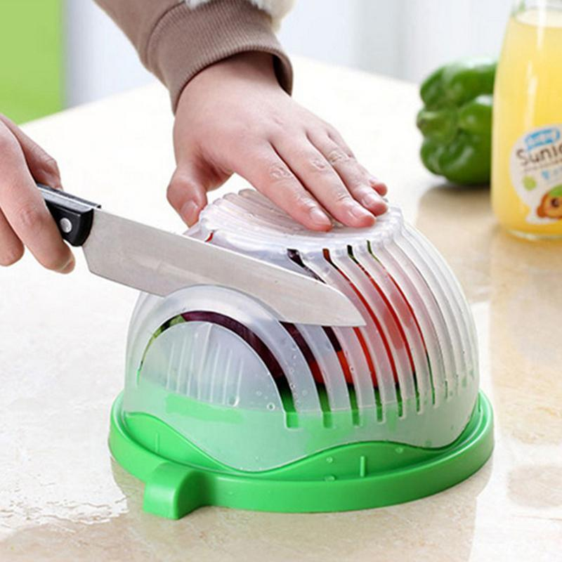 Nova Salada Fabricante De Cortar Cesta De Dreno de Legumes Cortador De Salada De Salada De Fácil Cozimento Ferramenta de Plástico Original Salad Bowl Cozinha Ferramentas R5