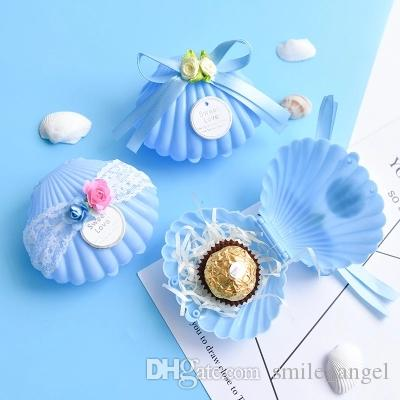 New Blue Shell Shaped Box with Lace and Flower Wedding Party Favor Boxes Plastic Solid Candy Package Gift Boxes 2019 Hot Selling
