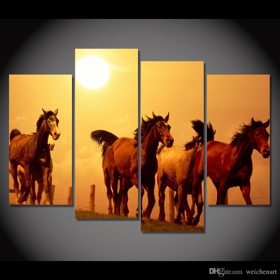 Best 4 Panel Canvas Art Canvas Painting Horses Sunset Farm Land Hd ...