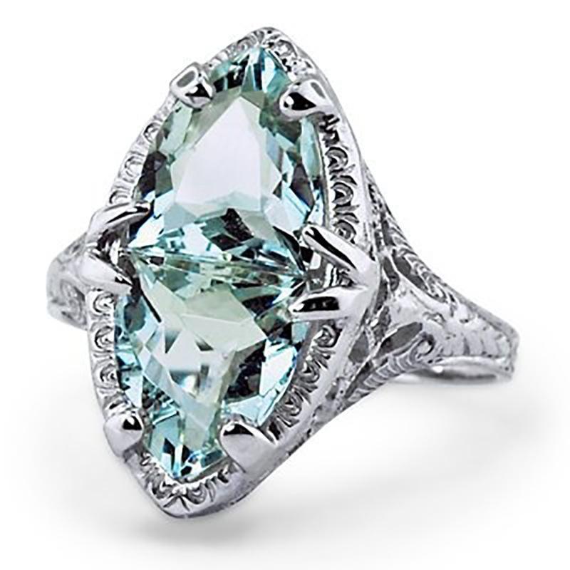 TYPEDESIGN Modelo anel de safira natural, azul do mar anel de diamante ornamento, jóia do casamento romântico eternidade banda