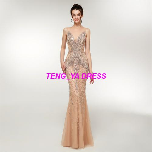 2018 Wonderful Shiny Beaded Mermaid Champagne Evening Dress D001