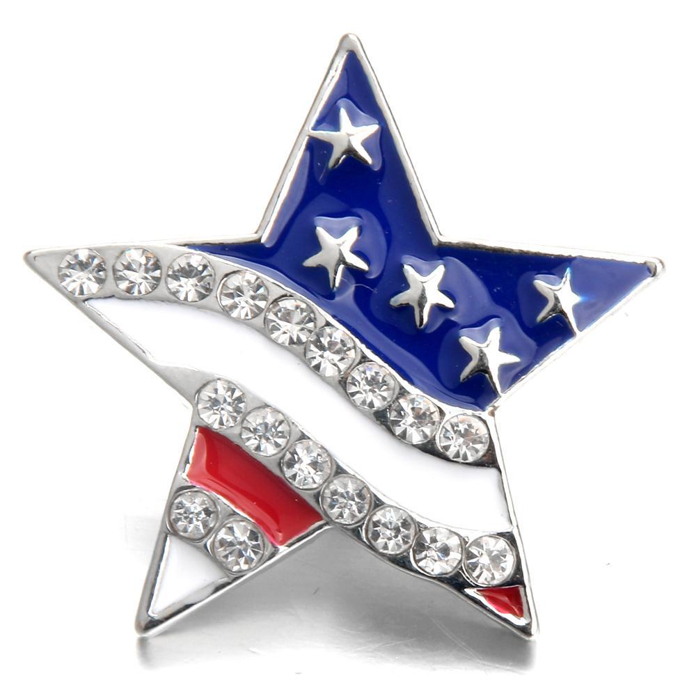 الكثير 20pcs جديد التقط مجوهرات حجر الراين الأمريكية العلم 18MM أزرار التقط سبائك خمر تناسب سوار