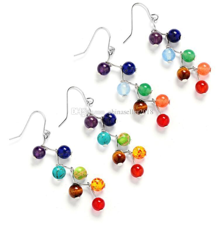 7 Цвет натуральный камень бисер серьги 7 Рэйки Чакра Healing баланс шариков мотаться серьги Женщины Йога ювелирные изделия