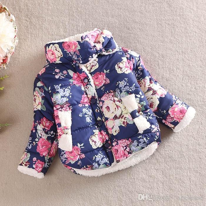 Vieeoease девушки пальто цветок Детская одежда 2018 осень зима мода с длинным рукавом толстые мягкие девушки Принцесса пальто EE-1010