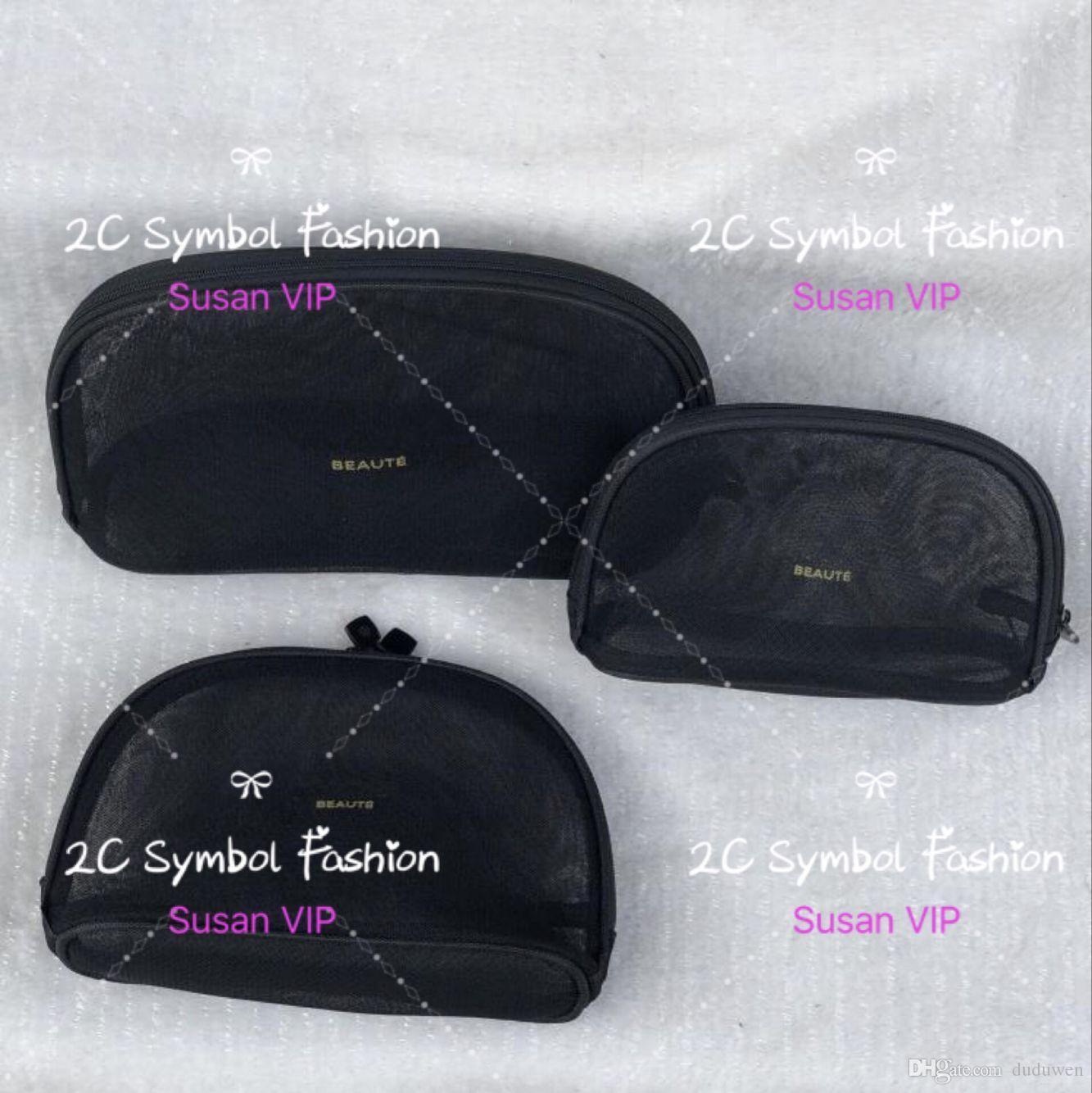 Set of 3 bags ( price for 3 bags) Fashion women Transparent Mesh cosetics organizer brand makeup bags luxury designer handbag counter gift