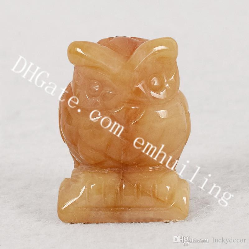 "10Pcs Topaz Owl Gemstone Crafts Carved Stress Reliving Healing Yellow Jade Stone Brid Decoration Gift Home Collectible Decoration 1.5"" 2.0"""