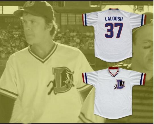 Men Bull Durham Nuke LaLoosh 37 Crash Davis 8 Durham Movie Baseball Jersey