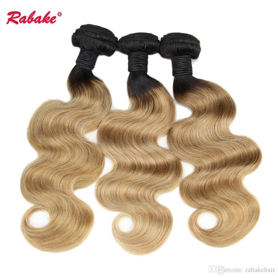 Brazilian Body Wave Human Hair Weave Bundles Ombre T1B 27 Virgin Black and Blonde Color Brazilian Body Wave Human Hair Extensions Free Ship