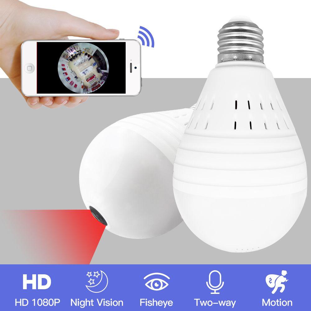 Свет 960 P Беспроводной Панорамный Домашней Безопасности Wi-Fi CCTV Рыбий Глаз Лампа IP-Камера 360 Градусов ONVIF Ночного Видения YITUO