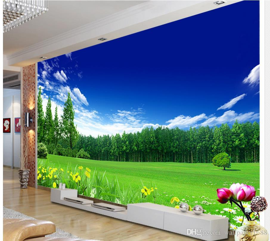 Blue Flowers Wall Mural Green Meadow Photo Wallpaper Living Room Bedroom Decor