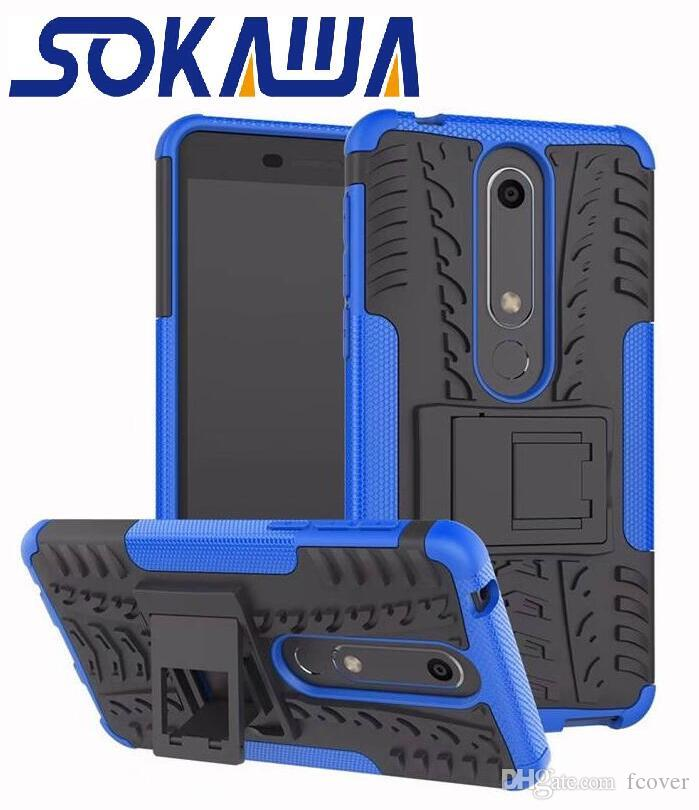 For Nokia 6.1 3.1 Plus 2.1 5.1 Plus 8.1 7.1 Case Soft TPU+PC Hybrid Armor Silicon Protection Soft Rubber Kickstand Hard Shell Case