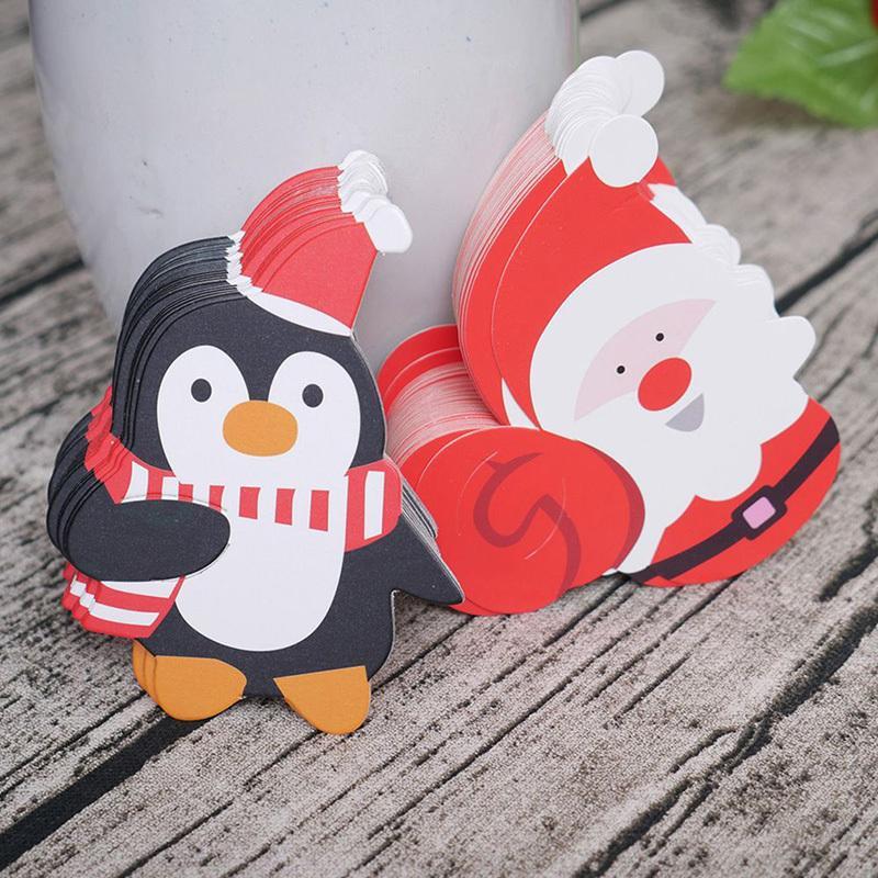 50 Pcs Santa Claus Snowman Penguin Lollipop Christmas Paper Card Candy Xmas Good Natal DIY Decorations For Home Y18102609