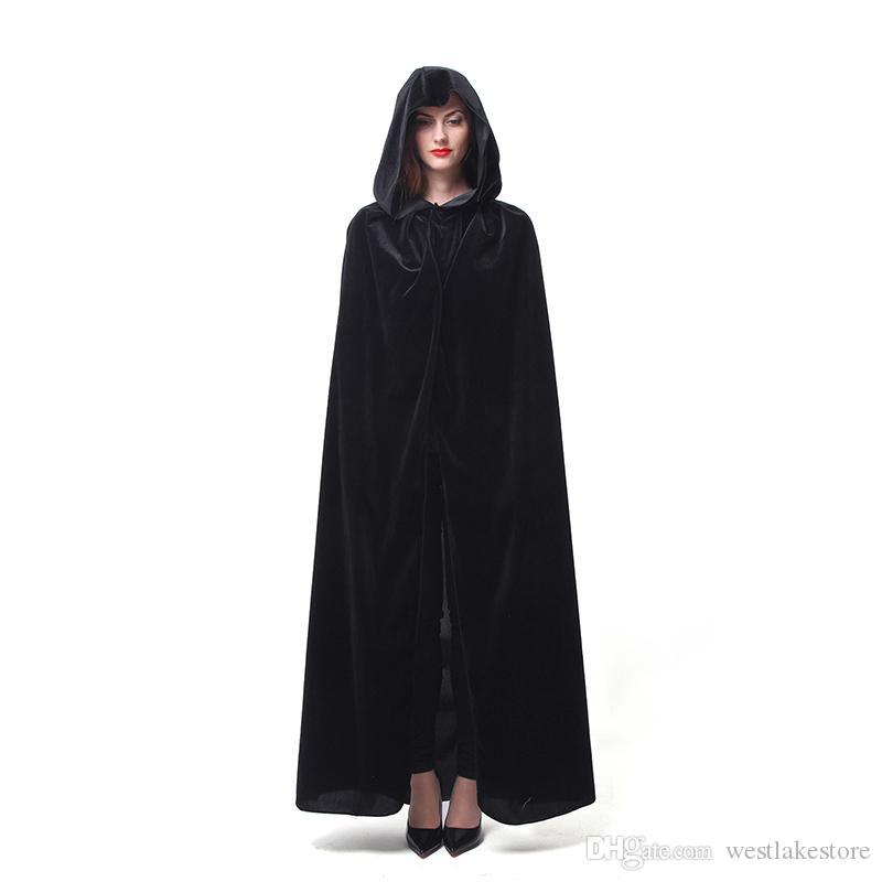 Горячие продажа Хэллоуин костюмы для взрослых Длинный фиолетовый зеленый красный черный плащ ведьма мастера капот с накидки косплей