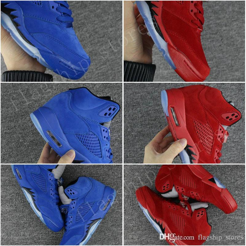 High Quality Mens 5 V Raging Bull Red Suede Tongue Reflect Basketball Shoes 5s Blue Sneakers Free Shipping US8-13