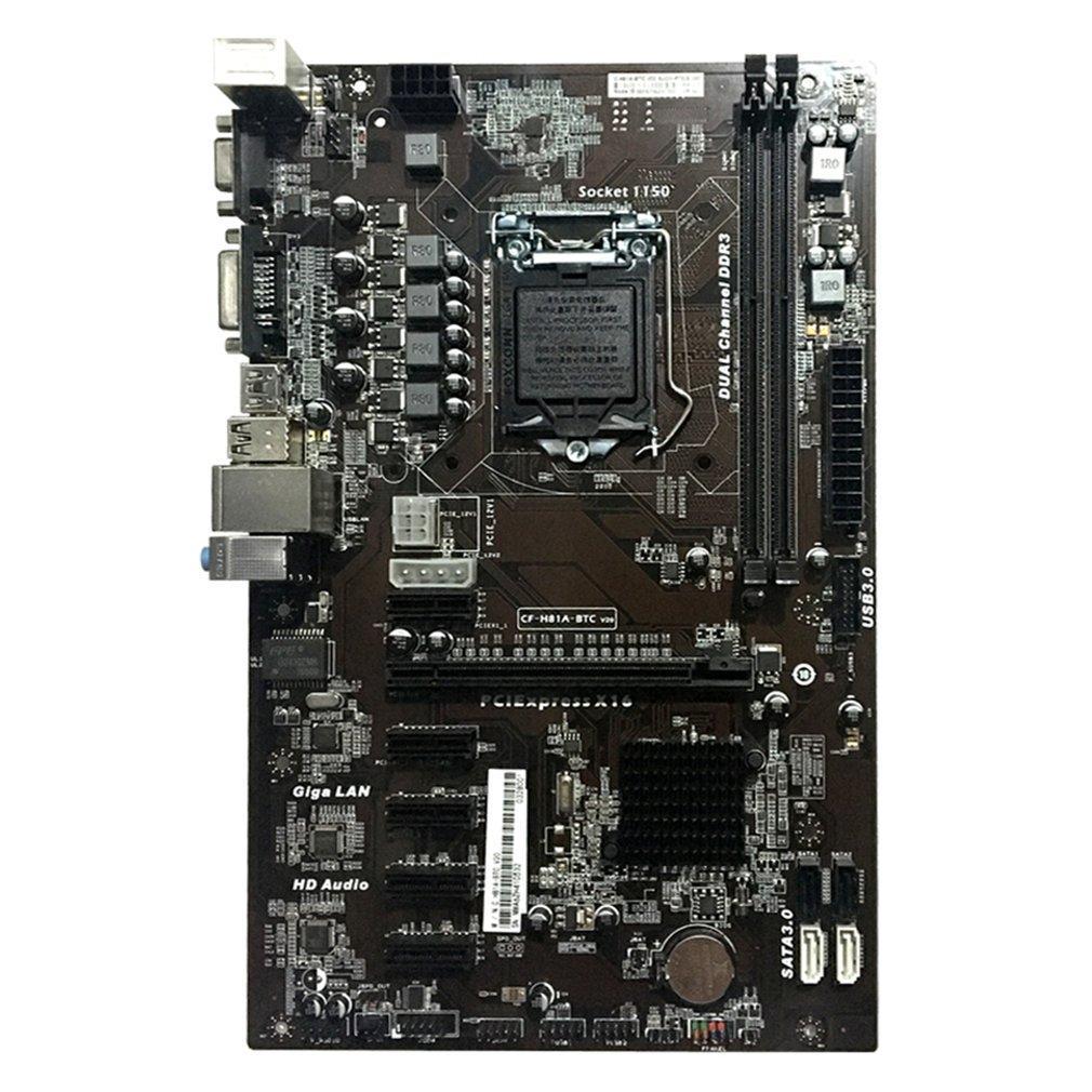 Carte mère Freeshipping H81A-BTC V20 Miner Carte ATX Processeur de prise LGA1150 H81 Carte mère Support 6 Carte graphique pour l'exploitation minière