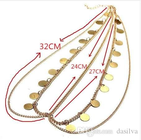 Classic Mutilayer Gold Hair Jewelry Round Sequins Head Chain Fashion Head Jewelry For Women T023