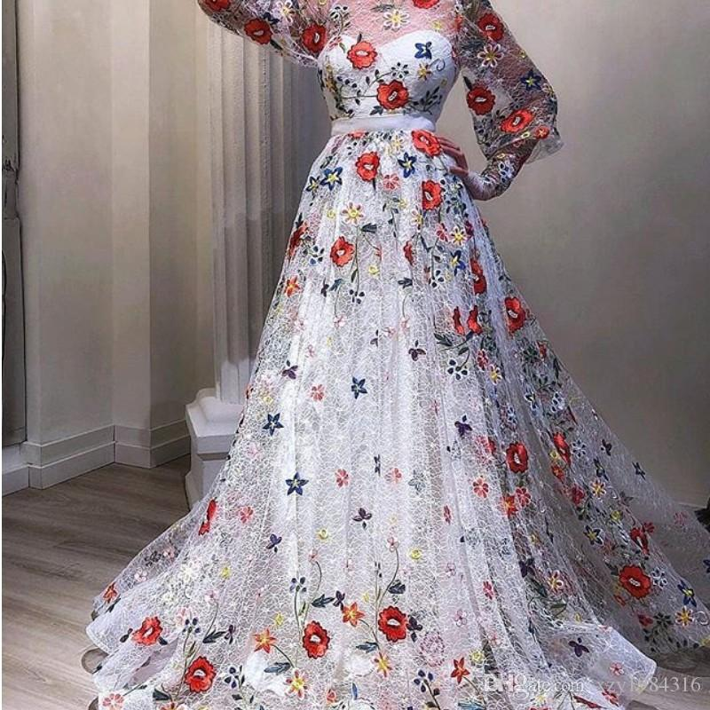 Enchantment Fairy Lace Evening Dress With Embroidery Jewel Neck Long Sleeve Applique A-Line 2018 Prom Dresses Glamorous Formal Dresses