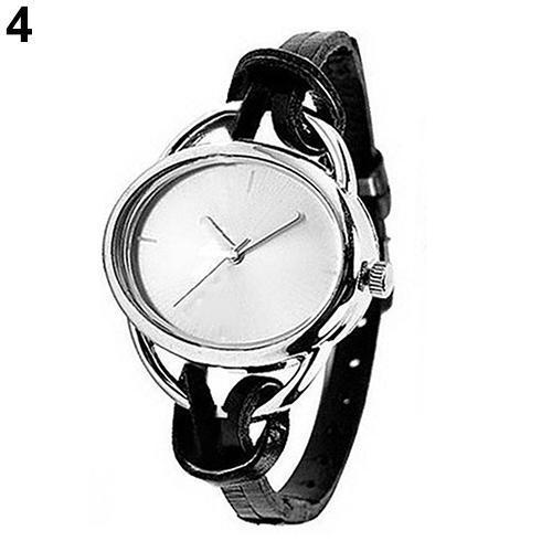 Top Women \ 's Mode ovale Slim Faux cuir bande analogique montre-bracelet à quartz Bracelet