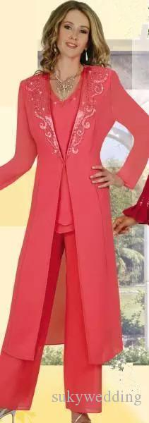 Coral Mother of The Bride Pant Suits with Jackets Chiffon Lace Wedding Party Dresses With Long Sleeves Women Formal Evening Gowns 2018