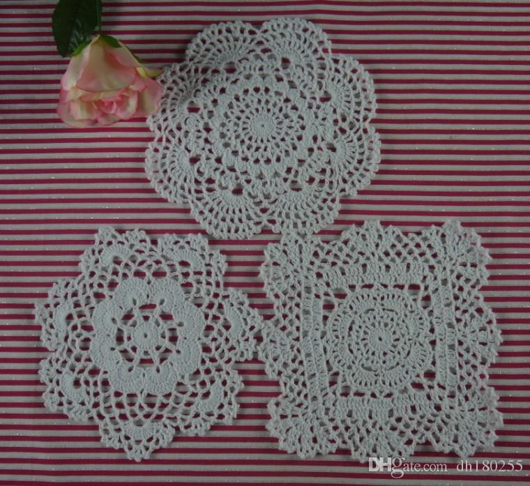 15pieces-Per design 5 PCS 3 Design / LOT Handmade Crocheted Doilies Vintage Placemats, cottm Round Coasters applique Home wedding decoration