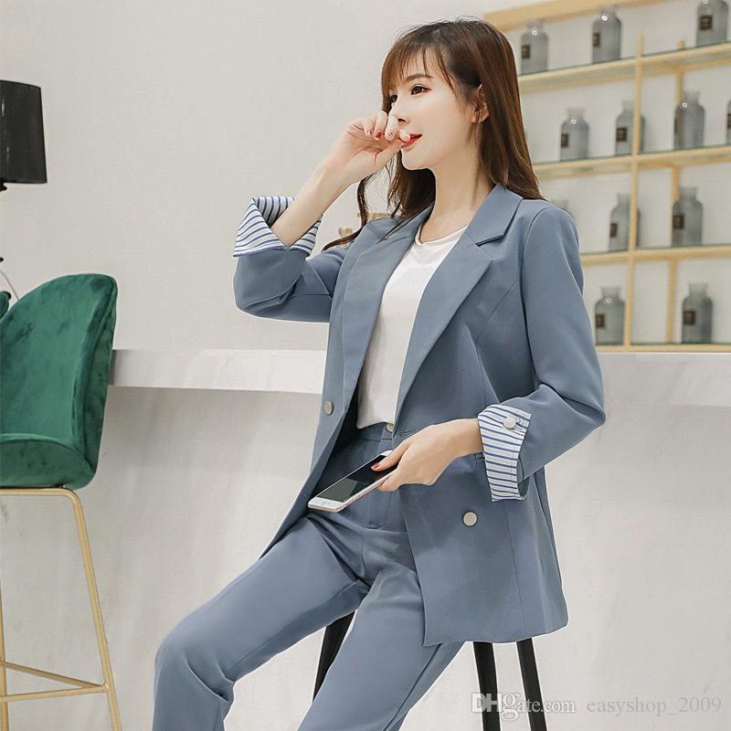 Para mujer de dos piezas personalizadas nuevas señoras del color sólido traje traje informal traje de dos piezas de las mujeres (chaqueta + pantalones) vestido de la oficina de negocios de las mujeres