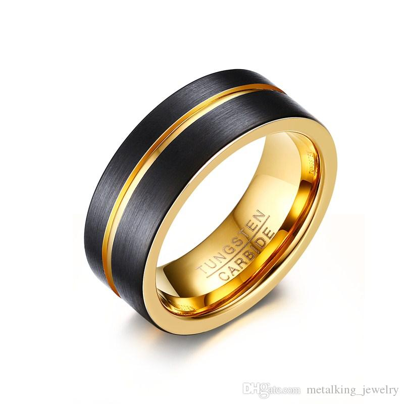 Gold Tungsten Carbide Wedding Band Ring Grooved Black Brushed Finish Comfort Fit Size 8-12