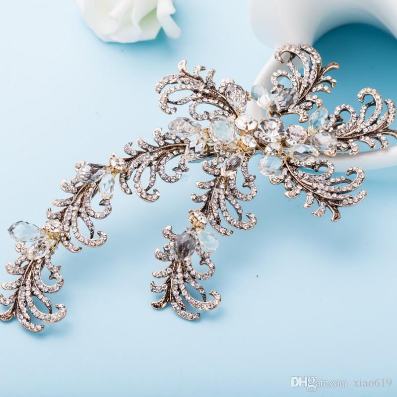 Boho Leaf Branch Hair Clip Bridal Headpiece Crystal Wedding Hair Vine Accessories Women Jewelry Handmade Crown