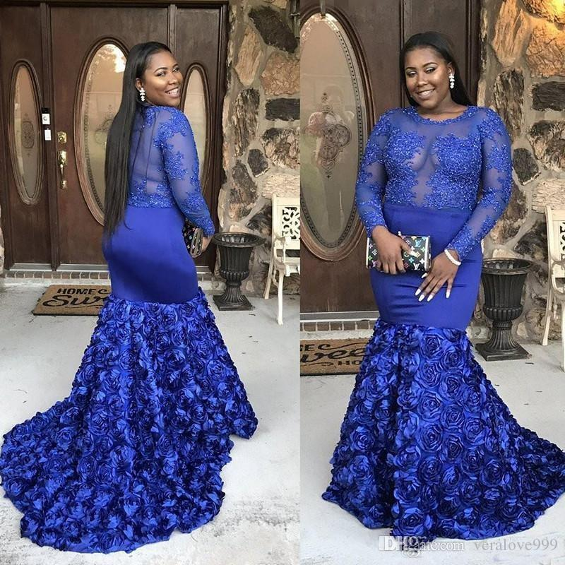 Royal Blue Plus Size Prom Dresses For Black Girl 2018 Long Sleeve Beaded  Applique Mermaid African Formal Evening Gowns Custom Made Party Dre Prom ...