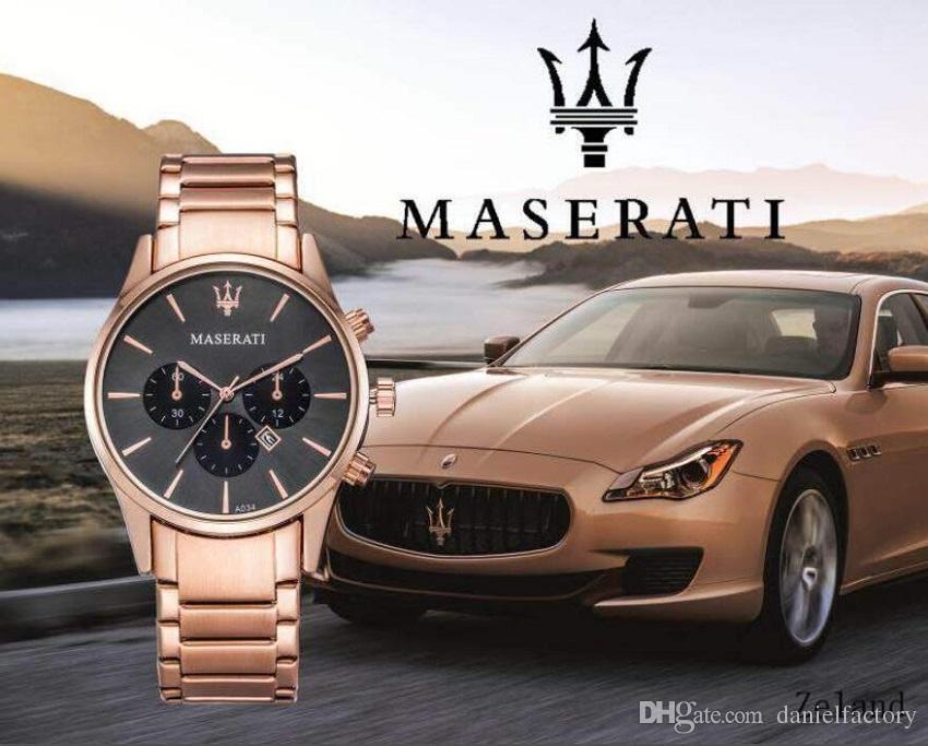 럭셔리 이탈리아 브랜드 패션 마세라티 스테인레스 스틸 시계 VOLARE 여성 남성 42mm 비즈니스 쿼츠 시계 손목 시계