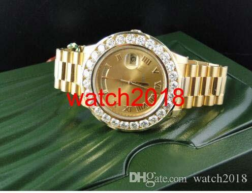Luksusowy Zegarek Niesamowity Męskie Daydate 2 II 18K 41mm Żółte Złoto Większy Diamond Watch Watch Automatyczne męskie Zegarek Męskie Zegarki Najwyższej Jakości