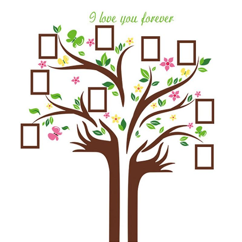 1 Set Family Tree Photo Frame Removable Wall Sticker Love Tree Love You Forever Bird Butterfly Decal