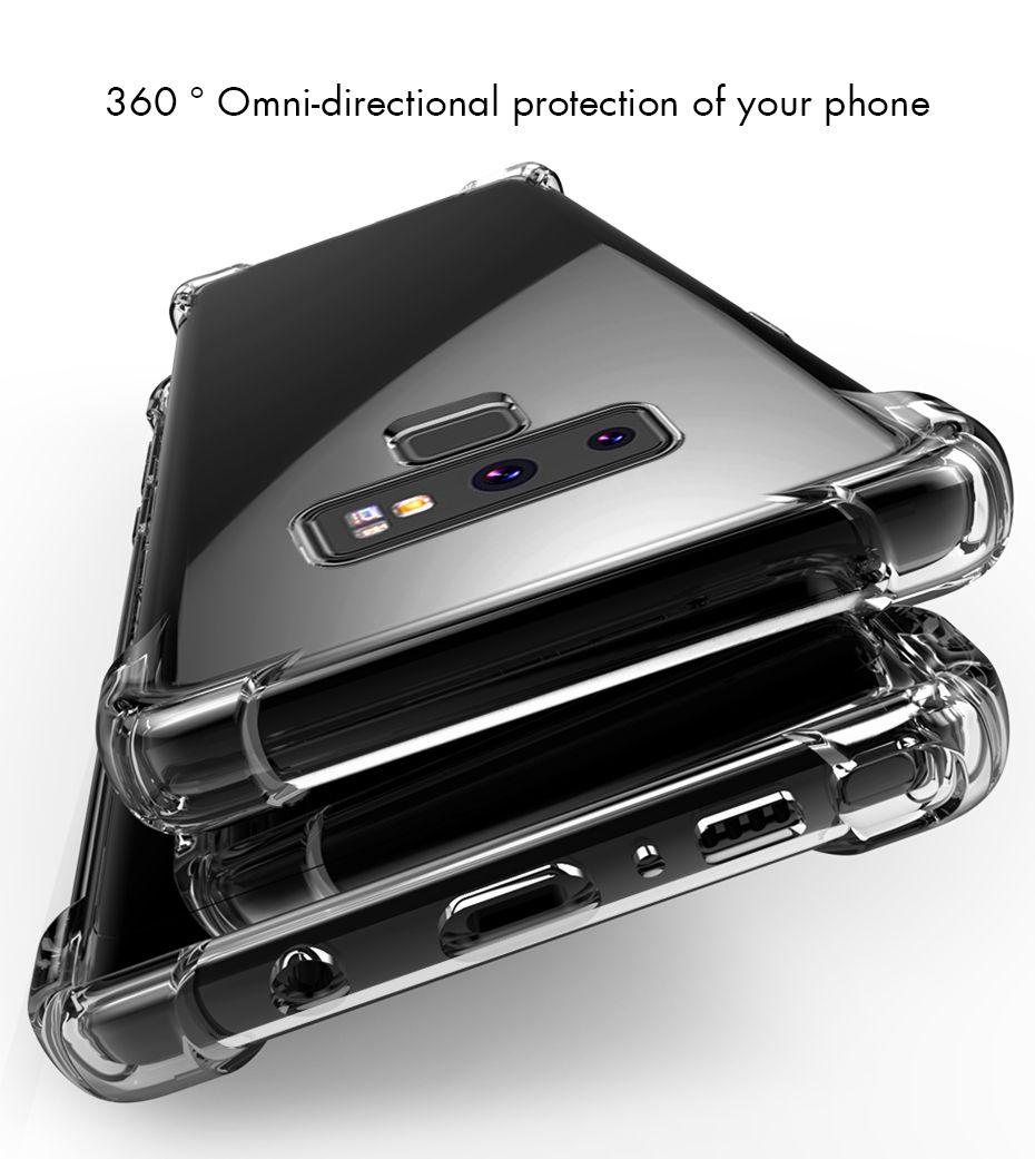 For Samsung s10 S9 S8 Plus Note8 note9 note10 A7 A8 J3 J5 J7 Air Cushion Case Crystal TPU Bumper Gel Cover iphone 11 pro xs max xr x 8 6 7