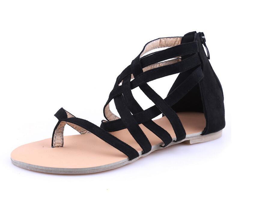 Mujer Cremallera Para Sandalias Casuales Con Planas Compre Gladiador Verano 2018 Estilo De Zapatos Bolsa Romano Nuevos b2IYWeEDH9