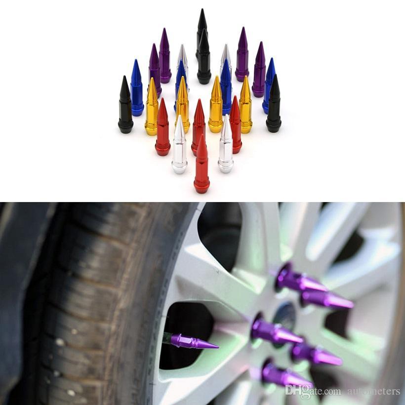 4 pcs 60MM Car Auto Bike Spike Shape Tire Tyre Dust Proof Wheel Stem Aluminum Alloy Valve Cap