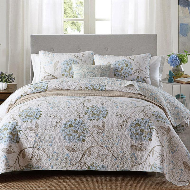 Quality Printed Bedspread Quilt Set Quilted Bedding Cotton Quilts